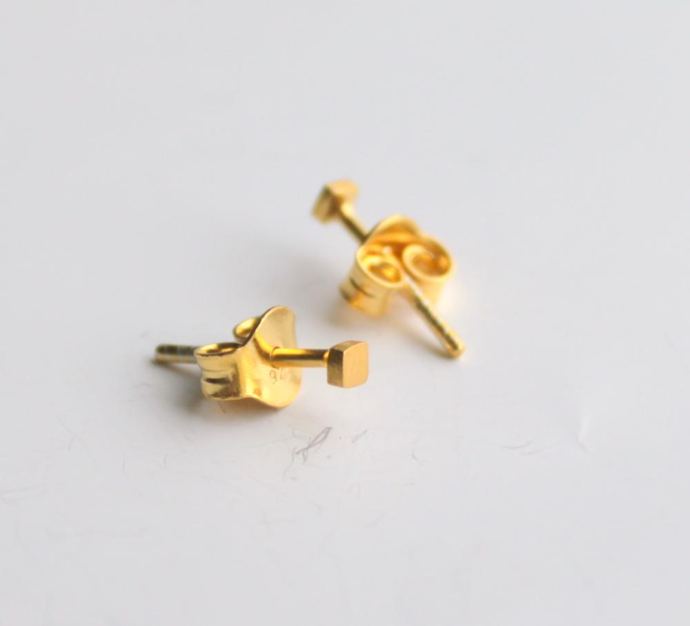 2mm Tiny Dainty Simple Geometric Square Stud Earrings Gold Plated Sterling