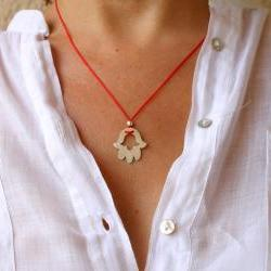 Modern Hamsa Hand Red Cord Knot Summer Fashion Necklace