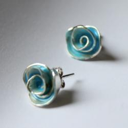 Egg Blue Enamel Rose Stud Earrings