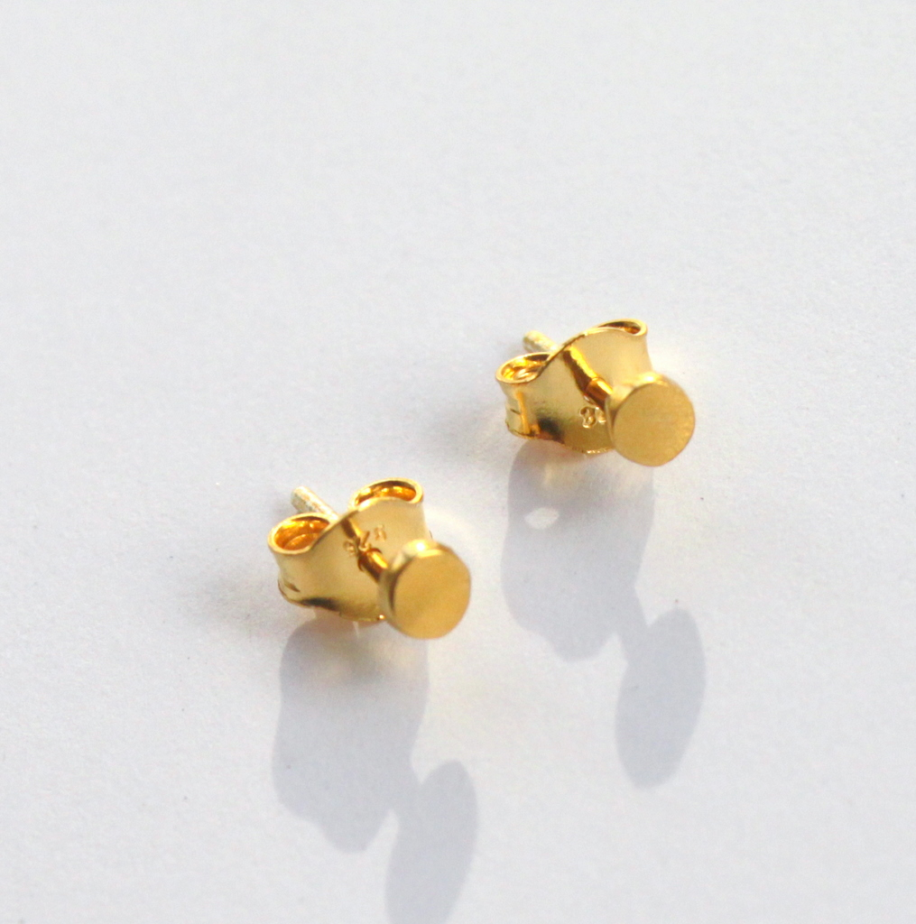 Geometric Jewelry 3 Mm Tiny Dainty Simple Round Stud Earrings Gold